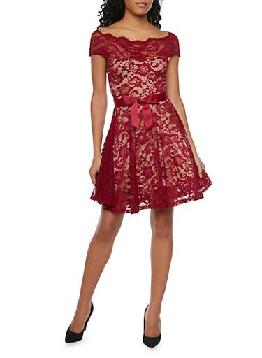 Off The Shoulder Skater Dress in Lace,BURGUNDY,large