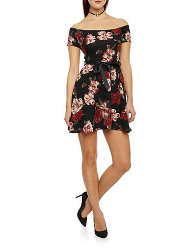 Belted Off the Shoulder Skater Dress in Floral Print,BLACK,large