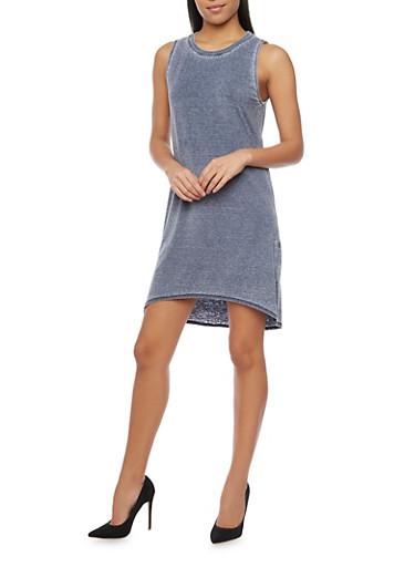 Sleeveless Marled T Shirt Dress,NAVY                  299,large