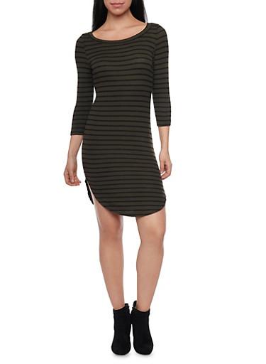 Shirttail Hem Striped T Shirt Dress,OLIVE BLK,large