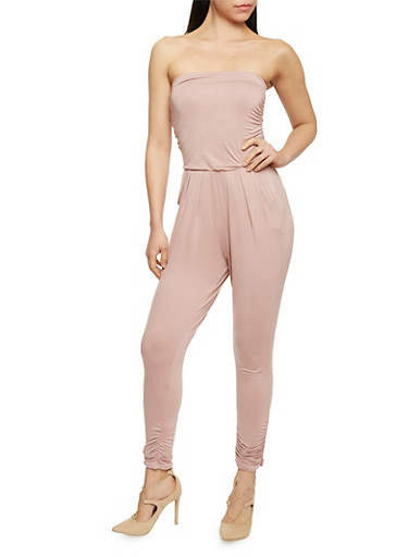 Strapless Ruched Jumpsuit,MAUVE,large