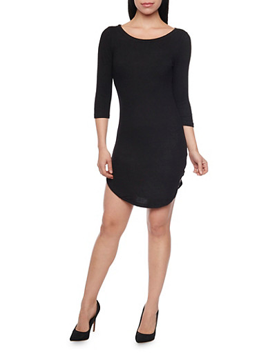 Soft Knit Rounded Hem T Shirt Dress,BLACK,large