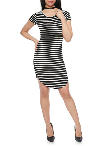 Striped T Shirt Dress with Rounded Hem,BLACK/WHITE,large
