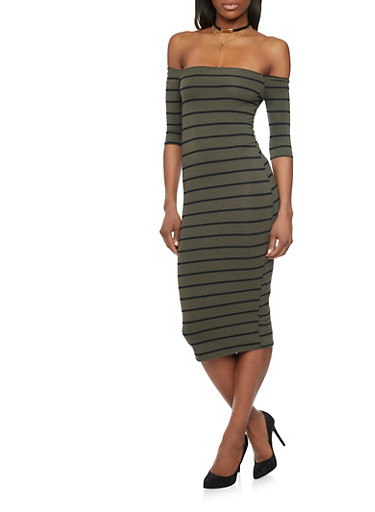 Off The Shoulder Striped Midi Dress,OLIVE  BLK,large