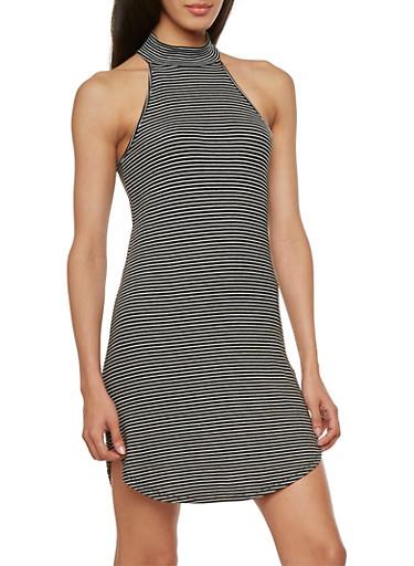 Mock Neck Striped Dress,BLACK/WHITE,large