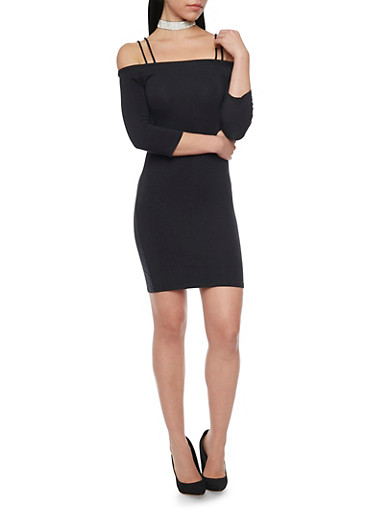 Off the Shoulder Bodycon T Shirt Dress with Straps,BLACK,large
