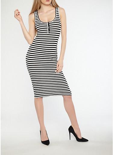 Striped Midi Dress with Button Detail,BLACK/WHITE,large
