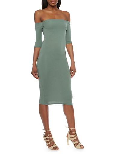 Off The Shoulder Mid Length Bodycon Dress,SAGE,large
