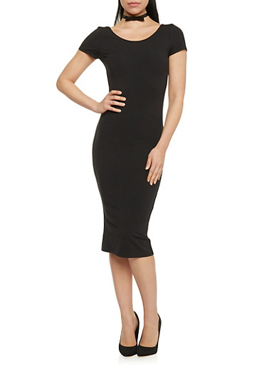 Short Sleeve Scoop Neck Bodycon T Shirt Dress,BLACK,large