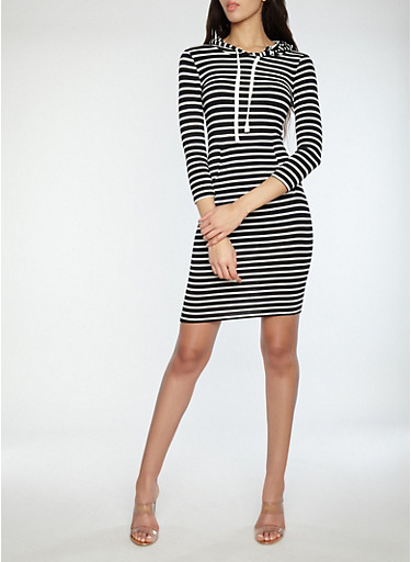 Striped Hooded Dress,BLACK/WHITE,large
