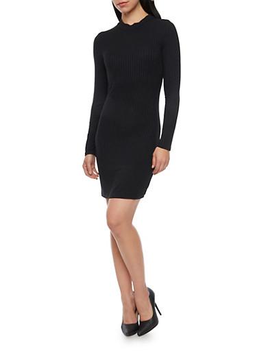 Long Sleeve Mini Dress in Rib Knit Fabric,BLACK,large