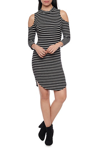 Striped Cold Shoulder Bodycon Dress with Mock Neck,BLACK/WHITE,large