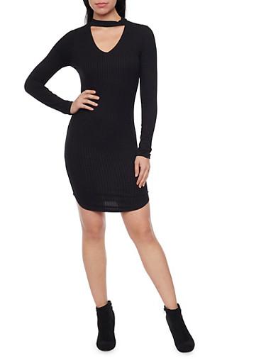 Long Sleeve Rib Knit Dress with Choker Collar,BLACK,large