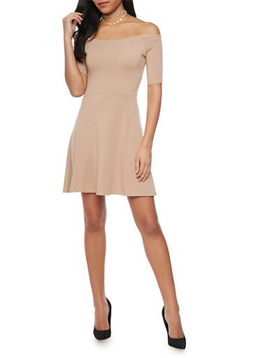 Off the Shoulder Skater Dress,MOCHA,large