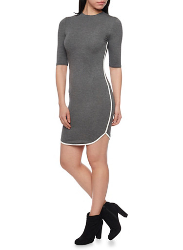 Jersey Knit Mini Dress with Contrast Piping,CHARCOAL,large