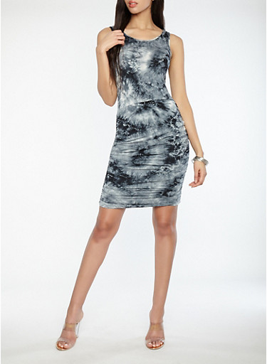 Ruched Tie Dye Dress,BLACK,large