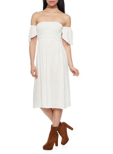 Smocked Bust Off the Shoulder Peasant Dress,WHITE,large