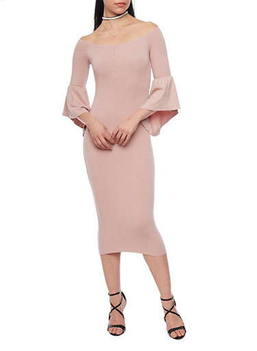 Off the Shoulder Bodycon Dress with ¾ Bell Sleeves,MAUVE,large