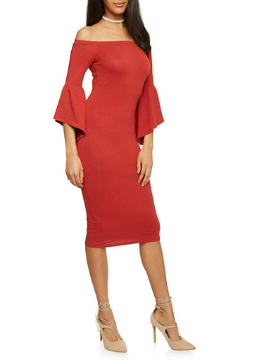 Off the Shoulder Bodycon Dress with ¾ Bell Sleeves,BRICK,large