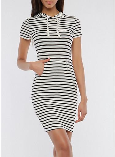 Soft Knit Striped Hooded Dress,BLACK/WHITE,large