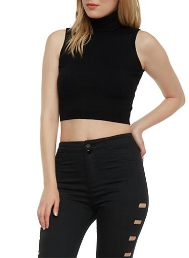 Sleeveless Ribbed Knit Crop Top Turtleneck,BLACK,large