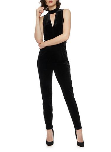 Sleeveless Velvet Jumpsuit with Lace Trim,BLACK,large