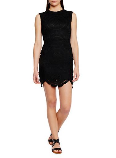 Crochet Dress with Seamed Waist,BLACK,large
