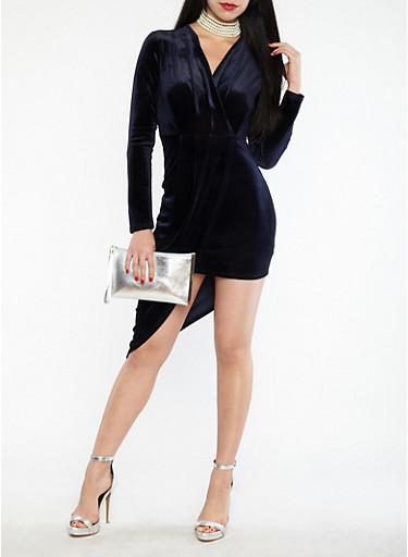 Velvet Faux Wrap Asymmetrical Bodycon Dress,NAVY,large