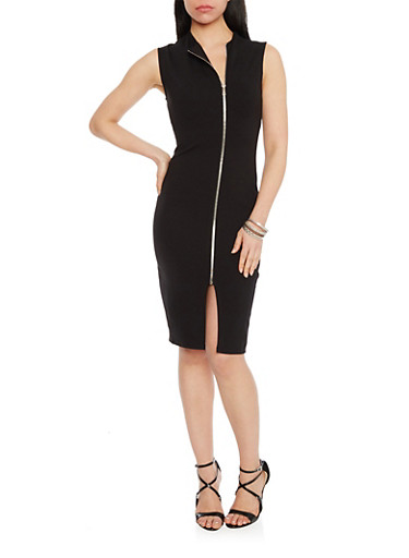 Soft Knit Zip Front Bodycon Dress,BLACK,large