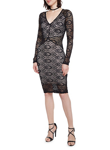 Lace Dress with Lining,BLACK,large