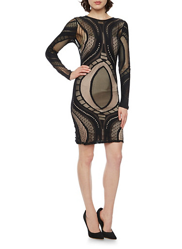 Bodycon Dress with Lace Paneling,BLACK,large