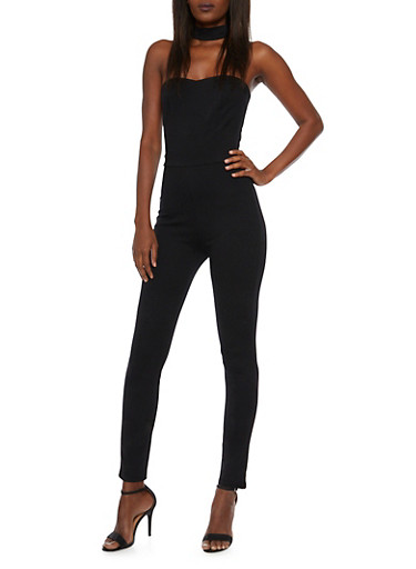 Strapless Jumpsuit with Choker Neck,BLACK,large