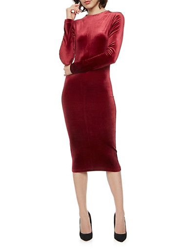 Velvet Crew Neck Long Sleeved Bodycon Dress,BURGUNDY,large