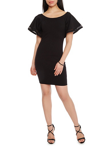 Mini Scuba Knit Dress with Bell Sleeves,BLACK,large