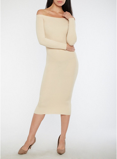 Off the Shoulder Rib Knit Sweater Dress,SAND,large