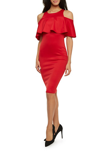 Cold Shoulder Midi Dress with Ruffle Overlay,RED,large