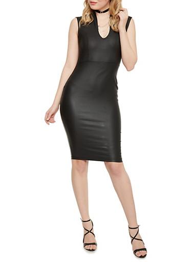 Sleeveless Faux Leather Bodycon Dress,BLACK,large