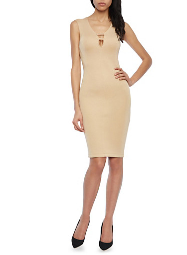 Scuba Dress with Plunging Strappy Neckline,SAND,large