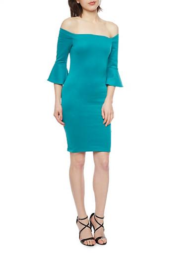 Off the Shoulder Scuba Knit Dress,EMERALD,large