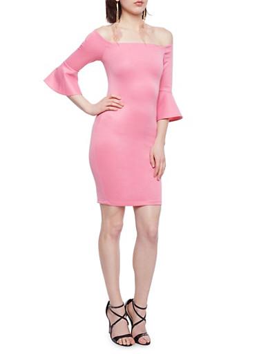 Off the Shoulder Scuba Knit Dress,ROSE,large