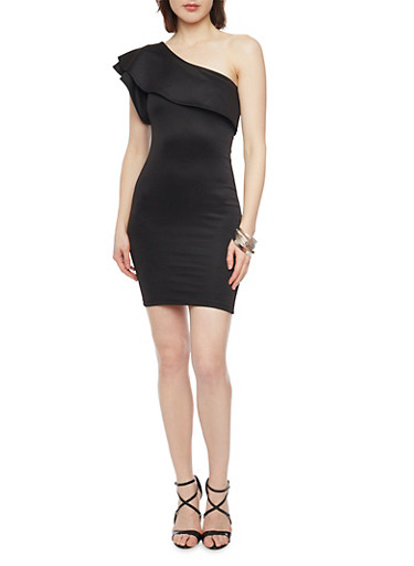 Ruffled One Shoulder Scuba Knit Dress,BLACK,large