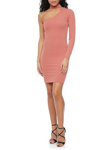 One Shoulder Bodycon Choker Dress,MAUVE,large