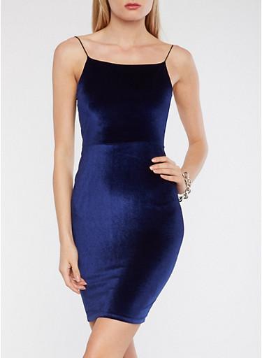 Velvet Bodycon Dress,ROYAL,large