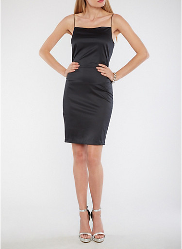 Satin Bodycon Dress,BLACK,large