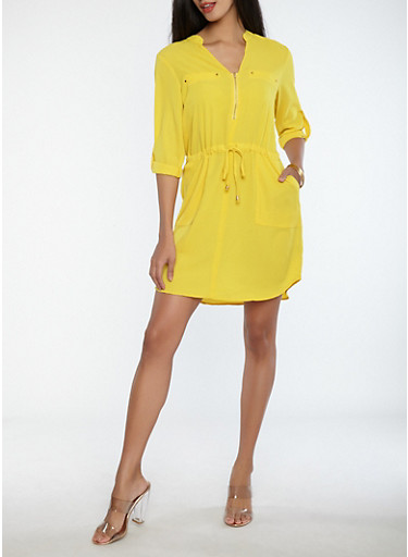 Crepe Knit Cinched Waist Dress,YELLOW,large