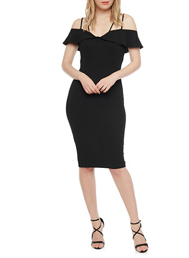 Mid Length Cold Shoulder Dress with Ruffle Detail,BLACK,large