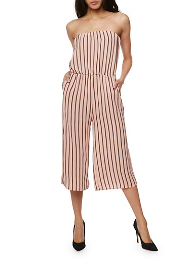 Strapless Striped Jumpsuit,BLUSH  BLK,large