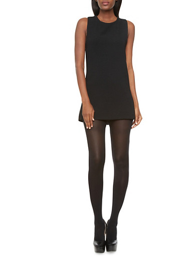 Sleeveless Textured Shift Dress With Exposed Back Zipper,BLACK,large