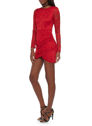 Long Sleeve Lace Mini Dress with Tiered Wrap Front,RED,large
