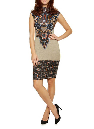 Mock Neck Bodycon Dress with Paisley Print,TOWN TAUPE,large
